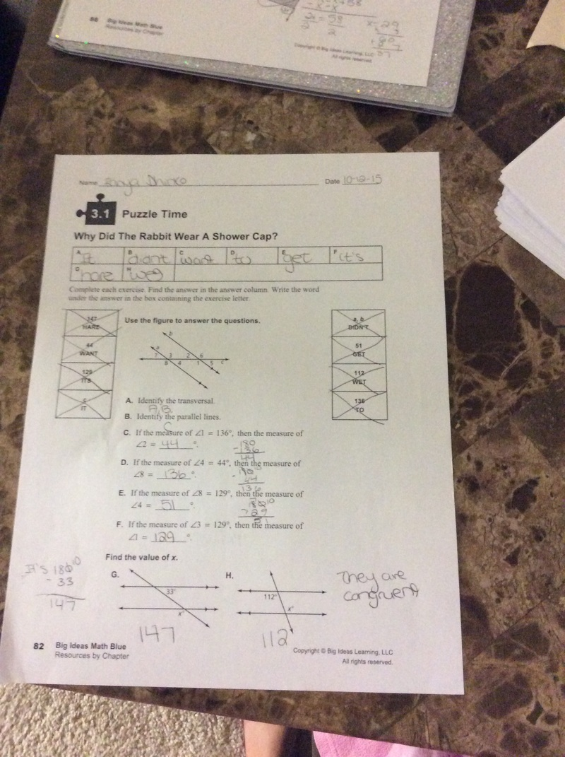 worksheet Answers To Did You Hear About Math Worksheet math support 8 even 3 years at baker middle school this is another puzzle time assignment for example if the measure of less than 129 then 1 29 so question is